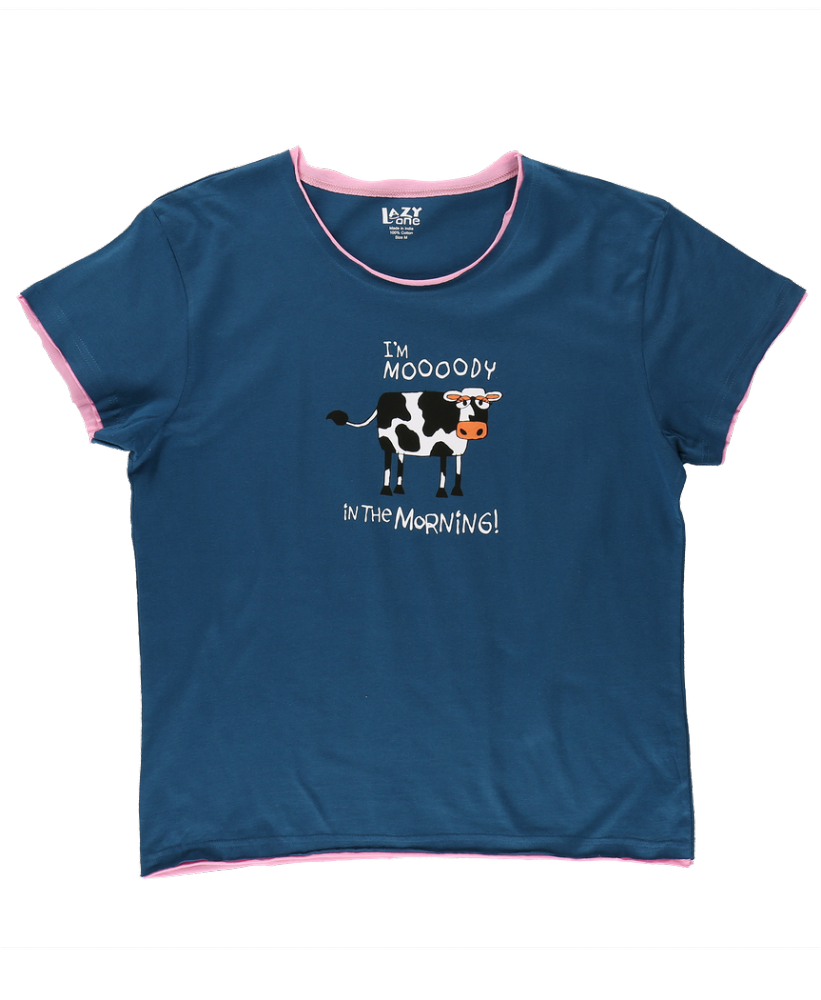 I'm Mooody In The Morning -  Women's Cow PJ T-shirt - LazyOne®